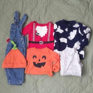 Baby Boy 5 Piece Pajamas Onesies Size 6-9 Months